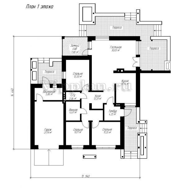 Проект небольшого одноэтажного дома из газоблоков Vg1118 в Москве